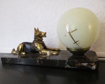 SIGNED TEDD Original Vintage French Art Deco German Shepherd Dog Table Lamp Light on Marble 1940s - Good Condition