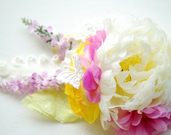 white peony lavender pink  yellow flowers bridal hair comb, weddings hair accessories, bride corsage, bridesmaids headpiece, sash, prom