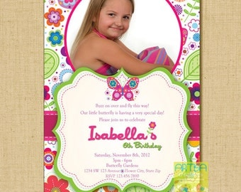 Butterfly Invitation, Butterflies and Flowers Birthday Invitation, Butterfly Birthday Invitation, Butterflies and Flowers, Spring Birthday