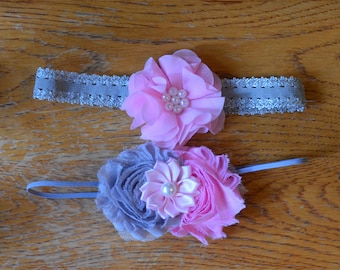 Pink and Grey shabby chic headband set