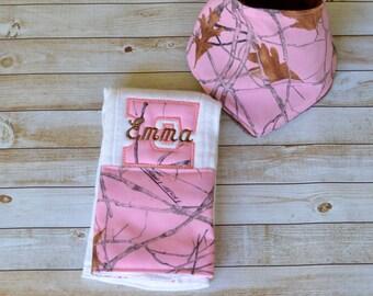Handmade personalized bandana bib and burp cloth set (camo theme)