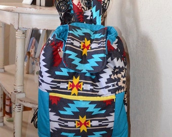 Handmade aztec drawstring boutique backpack