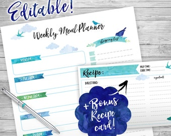 WEEKLY Meal Planner Printable, Editable, Week Organizer, INSTANT DOWNLOAD