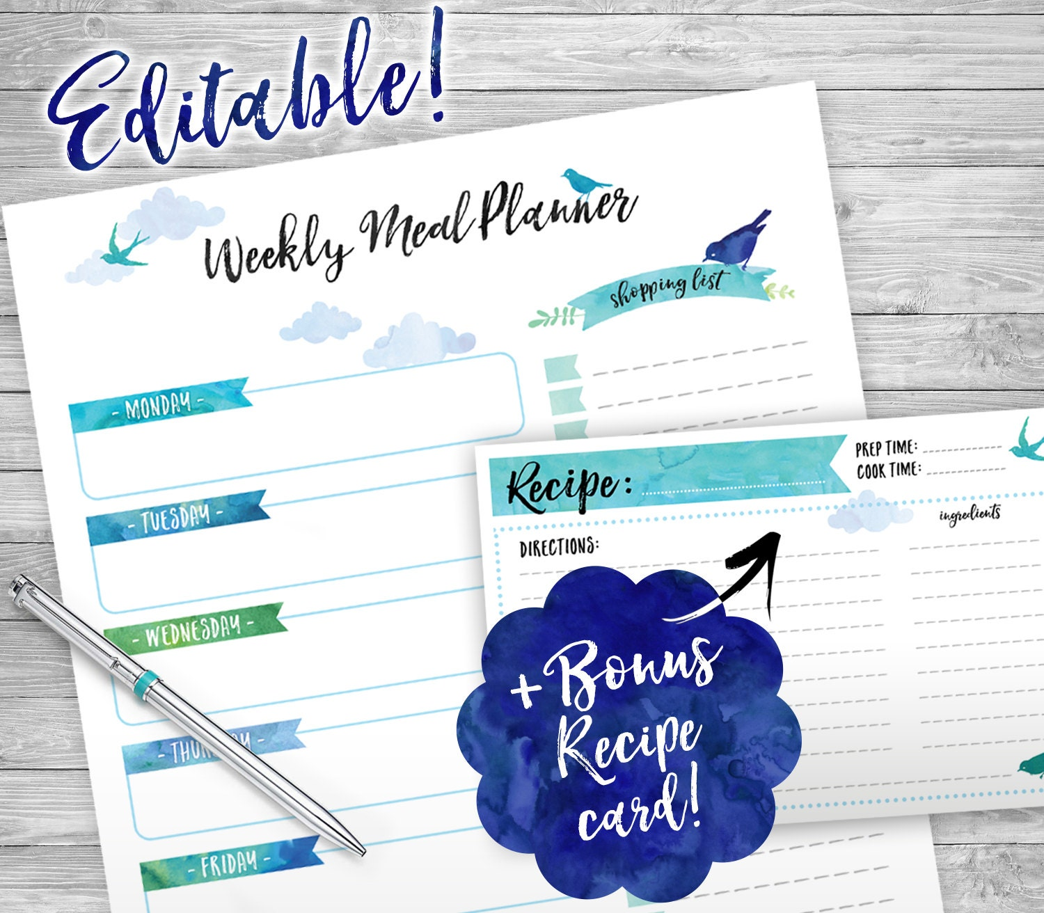 weekly meal planner printable editable week organizer