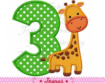 Instant Download Giraffe Number 3 Applique Embroidery Design NO:1622