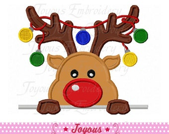 Instant Download Christmas Reindeer Applique Machine Embroidery Design NO:1877