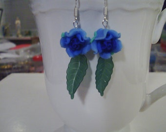 Blue Rose Earrings - Free Shipping