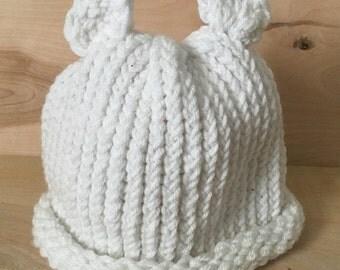 White Bear Beanie - Adult Size