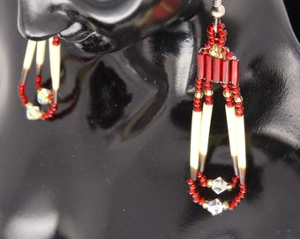 Sparkly Red & Gold Beaded Porcupine Quill Earrings-Handcrafted-Pierced or Clip-Sterling Available-Free US Shipping-Free Gift Box