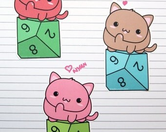 Chibi Cat with d10 Stickers and Magnets