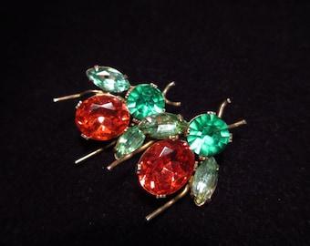Rhinestone Fly or Bug Vintage Earrings Very Old Sterling Clip On
