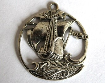2 Gorgeous Antique Silver 17th Century Sailing Ship Charms/Pendants