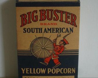 Vintage Big Buster Brand Popcorn  Cardboard box