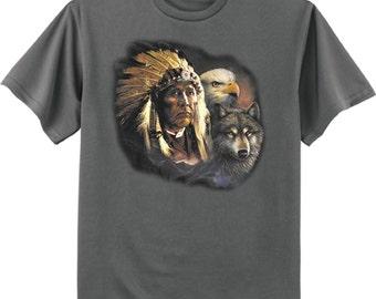 Indian shirt - Native American tee eagle wolf