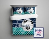 Custom Soccer Comforter or Duvet - Soccer Bedding Customized in any color - Monogrammed Soccer Bedding, Soccer Comforter