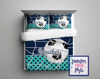 Custom Soccer Comforter or Duvet - Soccer Bedding Customized in any color - Monogrammed Soccer Bedding, Soccer Comforter