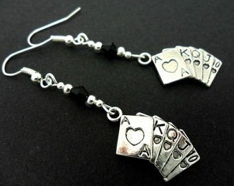 A pair of tibetan silver poker hand playing cards  dangly earrings. new.