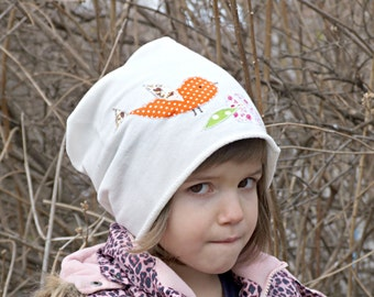 Applique Girl cotton slouchy beanie/ white toddler hat/ girl slouchy beanie/ chose size patchwork hat/ baby white hat/ custom hat