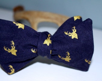 Navy and gold deer bow tie
