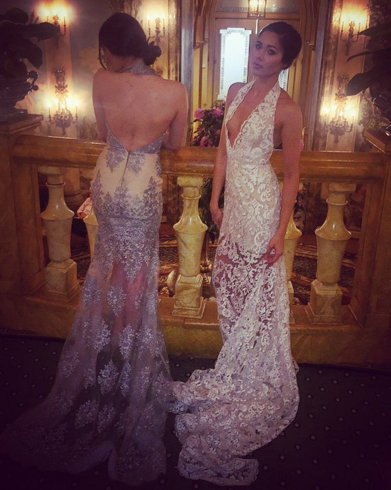 Irina Shabayeva Couture  lace haulter gown. Comes in white, black , nude lace . (Nude lining)