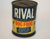 Vintage Rival Dog Food Tin Bank - Farm Fresh