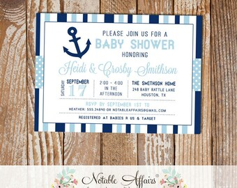Dark Navy and Light Blue Anchor Stripes and Polka Dots Baby Shower invitation - choose your colors - Nautical Baby Shower