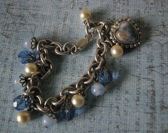 OOAK Vintage Beads Heart Charm Bracelet Assemblage Upcycled Recycled Repurposed