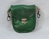 Green Leather Clip Bag, Hip Pouch, Belt Loop Bag, Sporran, Purse