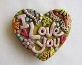 I Love You magnet , Boho Paisley Magnet, Love Magnet, Whimsical Rustic Magnet