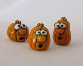 Cute Miniature Pumpkins, Silly Face Pumpkin decorations, Cute Polymer Clay Pumpkins