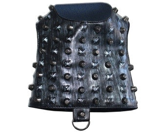 Distressed Gunmetal Faux Leather Studded Rockstar Dog Harness