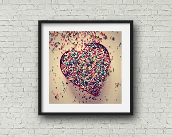 Colorful Sprinkles Photography - Fine Art Print - Food Photography - Bakery Decor - Gift for Bakers - Heart Photography