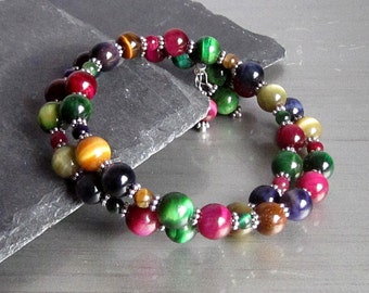 Tigers Eye Wrap Bracelet, Stone Layer Bracelet, Tigers Eye Jewellery,  Gemstone Cuff,  Multi colour Jewelry, Natural Stone, Semi Precious