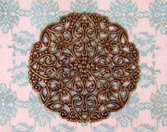 Spectacular Ornate Round Flat Filigree - Oxidized Brass Stamping - 51mm X1 Intricate Details with Hearts Swirls -Brass Pendant