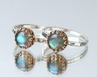 Labradorite Gemstone Ring- Silver Hammered Stacking Ring- Labradorite Jewelry- Silver And Gold Bronze Ring- B. Lagerberg Jewelry