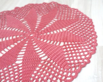 Blush pink Doily centerpiece crochet mat pad round table ash rose knitted home decor handmade floral flower folk cotton coaster snowflake