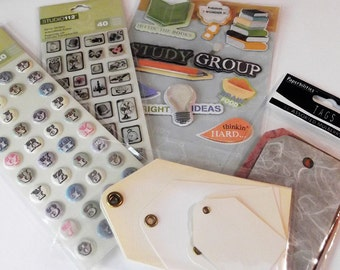 Variety Pack of Scrapbook Planner Journal Embellishments Tag, Stickers, Vintage, Alphabet & Numbers Papercrafting Kids Crafts Card Making