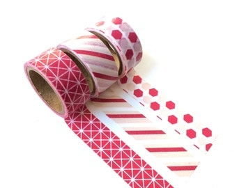 Set of 3 Washi Tapes Burgundy small