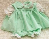 Vintage 1980s, Original, Cabbage Patch, Doll Clothes, Pastel Green, Dress Set, Shoulder Ties, Coleco, Collectible,