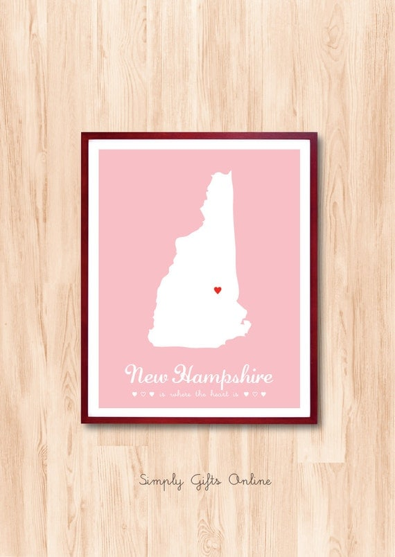 New Hampshire State map, Map Art, Custom Map,Wedding Guest Book, Personalized gift, wedding gift,nursery room, birth announcement, Art Print