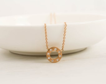 Circle Diamond Necklace in 14K Yellow Gold