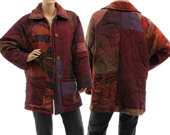 Boho silk jacket, lightweight patchwork silk jacket, 100% silk in burgundy purple / lagenlook - medium to plus size women M-L, US size 12-16