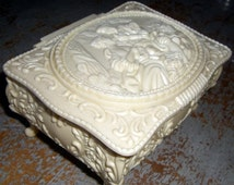 On Sale Vintage Jewelry Box, Ivory, Cream, Plastic, Celluloid, Trinket Box, Mirror, Pretty Box