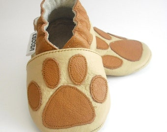 soft sole baby shoes leather infant kids children girl gift paw print brown 18 24 cuir souple chaussons bébé chaussures ebooba PW-5-BE-M-4