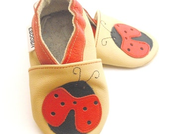 soft sole baby shoes infant kids gift ladybird red beige 12 18m bébés garcon fille cuir souple chaussons Krabbelschuhe ebooba LB-13-BE-M-3