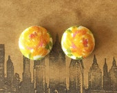 Button Earrings / Fabric Covered / Wholesale Jewelry / Orange / Vintage Inspired / Handmade / Bridesmaid Gifts / Studs / Made in USA