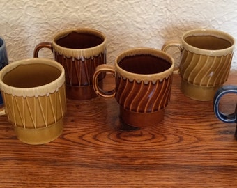 Vintage Ceramic Stacking Mugs Made in Japan Set of 6