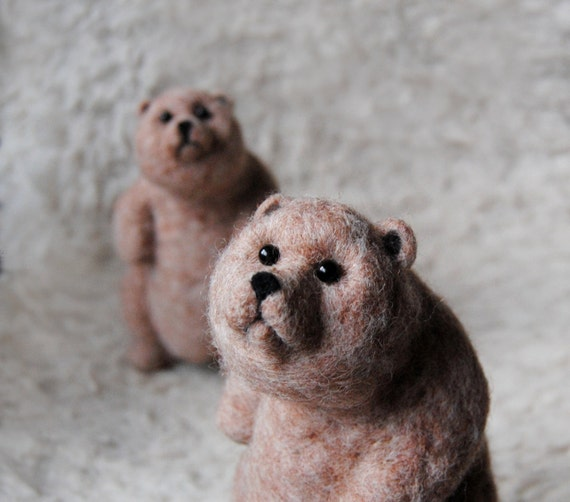 Pair Of Bears, Needle Felted Brown Bears, Bear Sculpture, Needle Felted Animal, Needle Felted Bear Dolls Set of 2 - READY TO SHIP