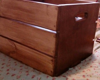 Wood Crate: Rustic wooden box with carry handles. Walnut finish