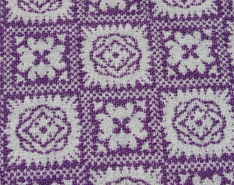Vintage Purple White Woven Cotton Fabric, Flower Squares, Vintage Material, Interior Decorating Fabric 1 1/2 yards